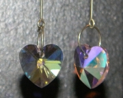 Pink teardrop pink crystal heart earrings