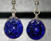 Cobalt blue crackle stone earrings