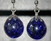Iridescent cobalt blue crackle stone earrings
