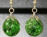 Lime green crackle stone earrings