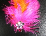 Pink and orange feather barrette