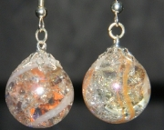 Orange/clear swirl crackle stone earrings