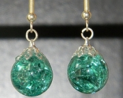 Teal crackle stone earrings