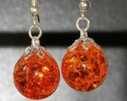 Orange crackle stone earrings