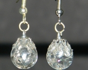 Mini clear crackle stone earrings