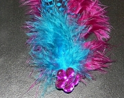 Purple and teal feather barrette