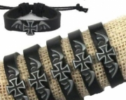Leather bracelet with cross and wings