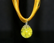 Yellow cat eye crackle stone on yellow organza ribbon