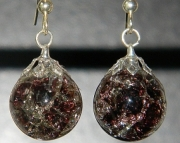 Dark purple cat eye crackle stone earrings