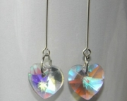 Clear crystal heart teardrop earrings