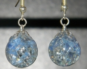 Light blue cat eye crackle stone earrings