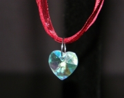 Clear crystal heart on maroon organza ribbon