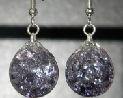 Purple crackle stone earrings
