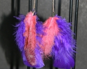 Pink and purple feather earrings