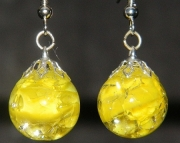 Yellow cat eye crackle stone earrings