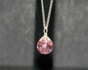 Pink stone on silver chain necklace