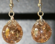 Iridescent pink crackle stone earrings