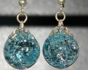 Light Azure crackle stone earrings