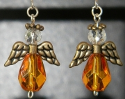 Orange angel earrings