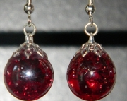 Iridescent Ruby red crackle stone earrings