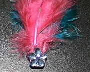 Teal and pink feather barrette