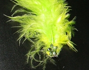 Yellow and green feather barrette