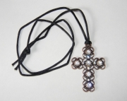 Bronze wired cross with rhinestone on black nylon necklace