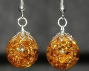 Amber golden crackle stone earrings
