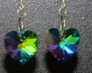 Multi colored teardrop crystal heart earrings