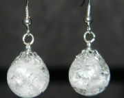 White cat eye crackle stone earrings