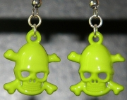 Neon green skull earrings