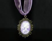 Purple lady skull pendant on purple organza ribbon