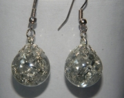 Clear crackle stone earrings