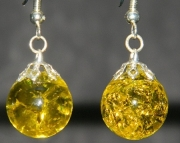 Yellow crackle stone earrings
