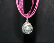 Clear stone on hot pink organza ribbon