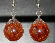 Iridescent orange crackle stone earrings