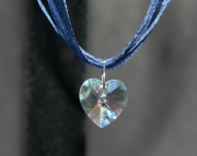 Pink crystal heart on dark blue organza ribbon