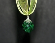 Emerald green crackle stone on olive green organza ribbon