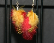Red and orange feather earrings
