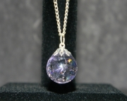 Purple stone on silver chain necklace
