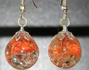 Orange cat eye crackle stone earrings