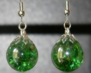 Iridescent lime crackle stone earrings