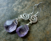 Lavender Sterling Swirl Earrings