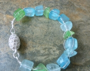 Capri Sea Glass Wired Bracelet - Sea Glass and Hand-Wrapped Silver Bangle