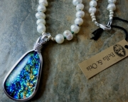On Sale - 25% Off! Blue Dichroic Pearl Necklace