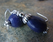 Bl Sapphire Quartz Earrings