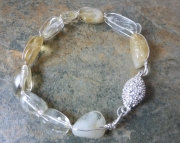 Daisy Chain Bracelet - Citrine and Hand-Wrapped Silver Bangle