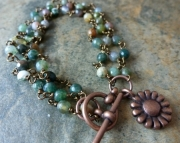 Copper Sunflower Bracelet