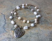 Baroque Charming Pearl Bracelets  Antique Bronze and Pearl Bangles
