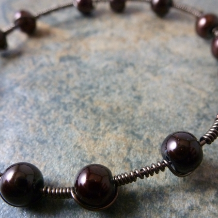 Chocolate Wrap Bracelet - Antique Copper and Chocolate Pearl